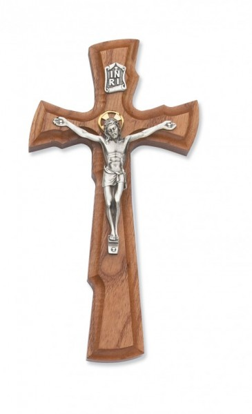 "Walnut Wood Crucifix with Two Tone Corpus - 8""H - Light Brown"