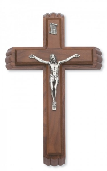 "Walnut Wood Sick Call Crucifix Set with Silver Corpus - 11""H - Brown"
