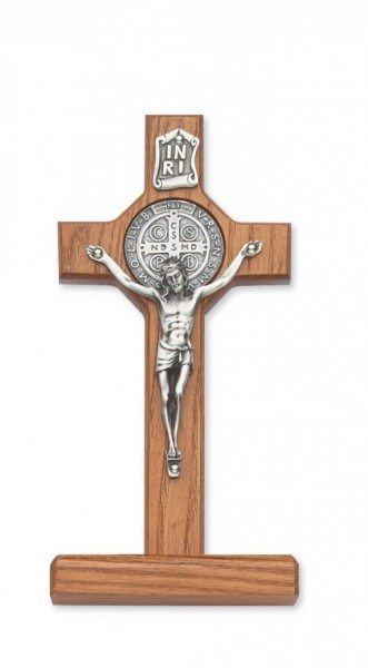 "Walnut Wood Standing St. Benedict Crucifix - 6""H - Light Brown"