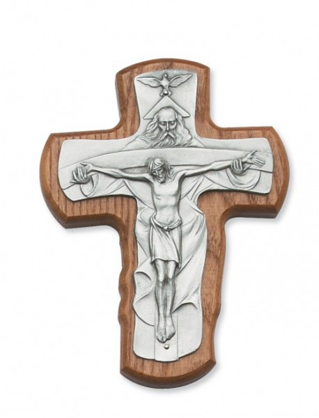 "Walnut Wood Trinity Crucifix - 5 1/2""H - Light Brown"
