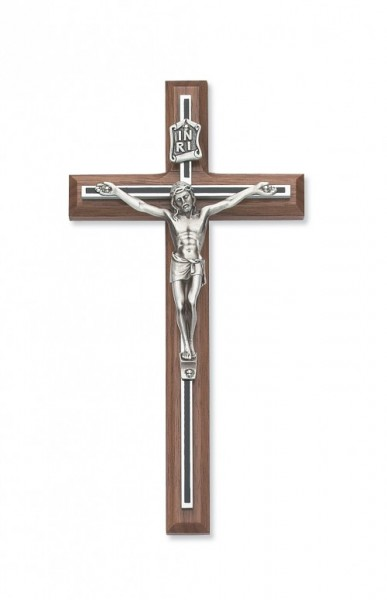 "Walnut with Black Overlay Crucifix - 8""H - Multi-Color"