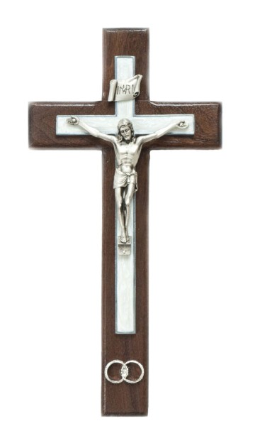"Wedding Wall Crucifix with Wedding Rings and White Pearlized Epoxy Overlay with Pewter Corpus 10"" - Brown"