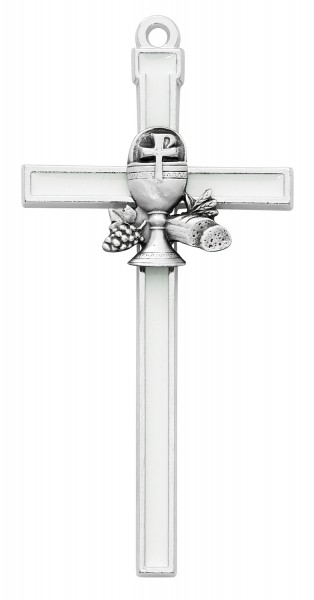 White Enamel First Communion Wall Cross 5 Inches - White