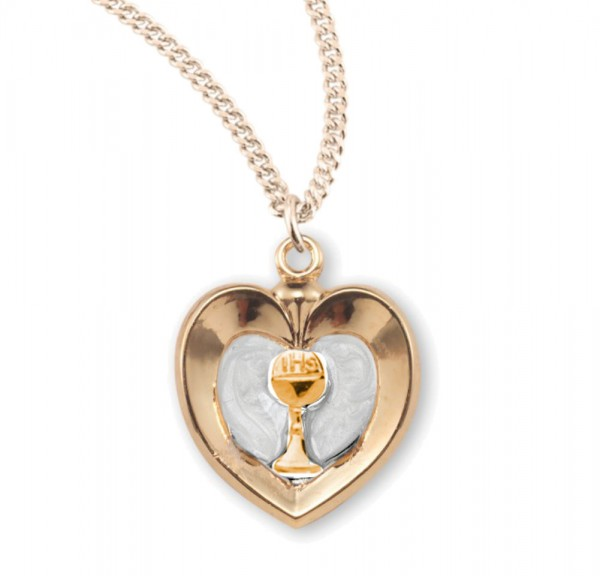 White Enamel Heart with Gold Chalice Necklace - Gold Plated