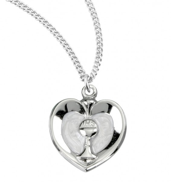 White Enamel Heart with Gold Chalice Necklace - Sterling Silver