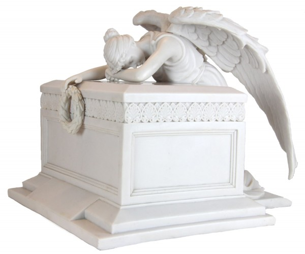 White Grieving Memorial Angel Monument Cremation Urn - White