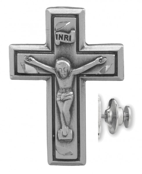Wide Edge Crucifix Lapel Pin Sterling Silver - Sterling Silver