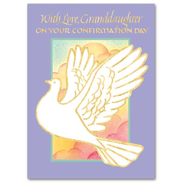 With Love Granddaughter on Your Confirmation Day Greeting Card - Purple