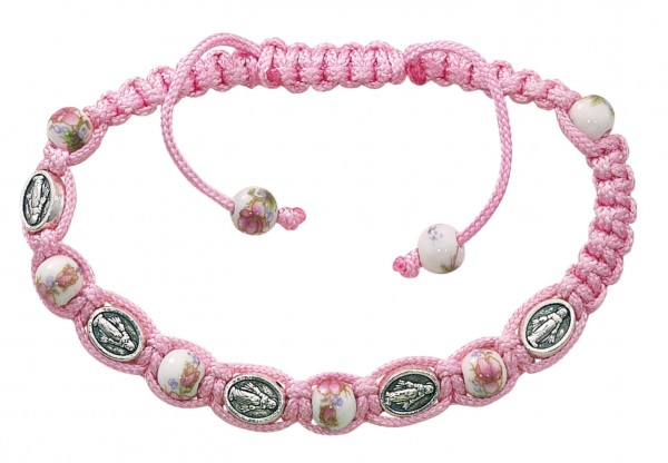 Women's Adjustable Miraculous Medals & Ceramic Beads Bracelet with Adjustable Pink Cord - Pink