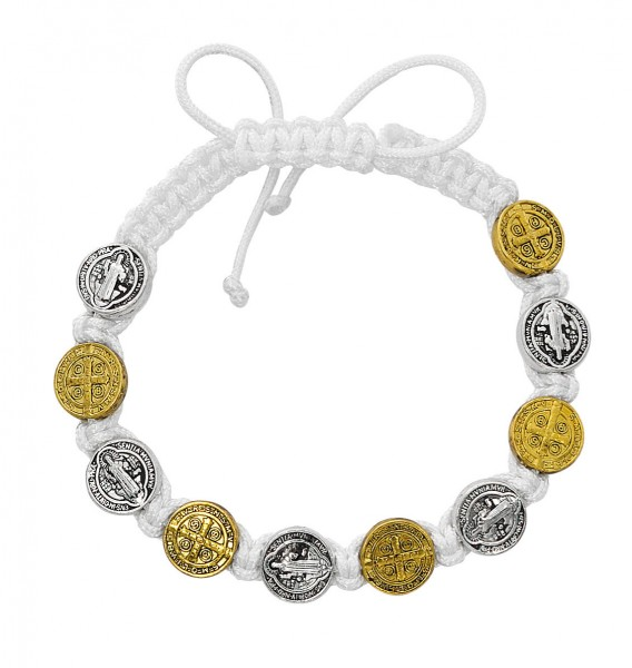 Women's Adjustable White Corded Two-Tone St. Benedict Bracelet - Black | Silver