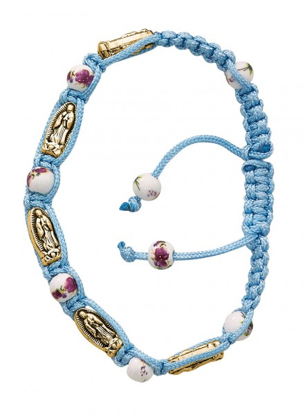 Women's Aqua Cord Guadalupe Charm Bracelet with Ceramic Beads - Blue
