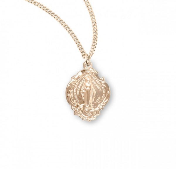 Women's Small Baroque Style Miraculous Pendant - Gold Plated