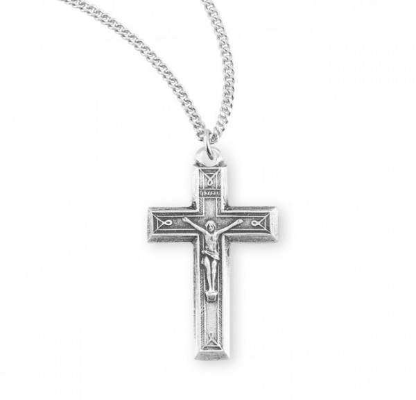 Women's Beveled Edge Ribbon Edge Crucifix Necklace - Sterling Silver
