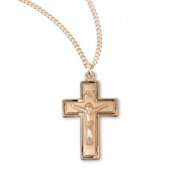 Women's Block Style Crucifix Medal Sterling Silver - Gold Plated