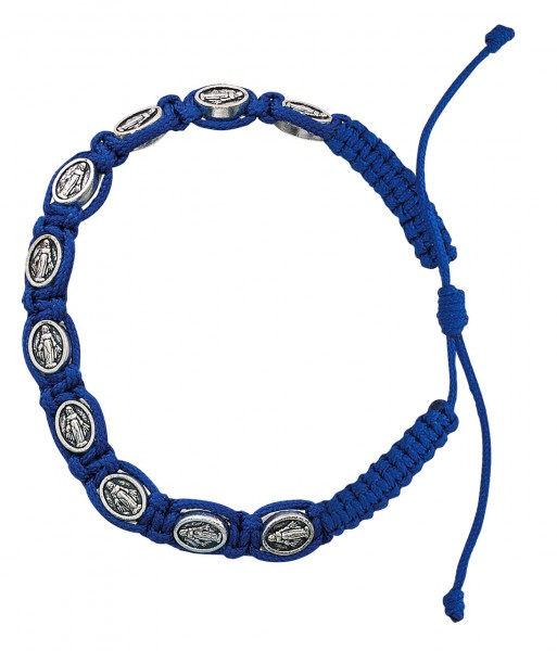 Women's Blue Colored Cord Bracelet with Miraculous Medals - Blue