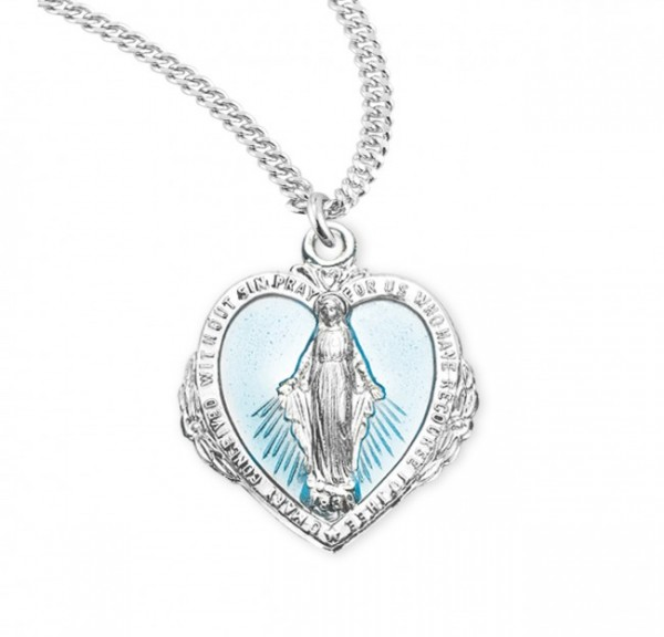 Women's Blue Enamel Heart Flower Miraculous Medal - Sterling Silver