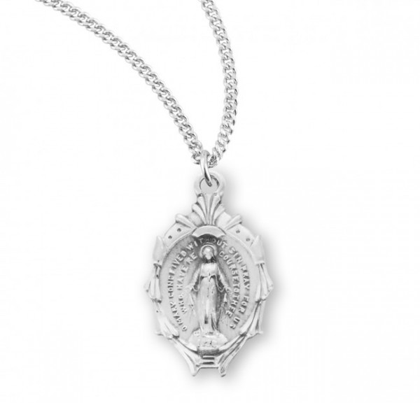 Women's Cascading Border Miraculous Medal - Sterling Silver