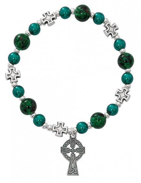 Women's Celtic Stretch Bracelet with Green Pearl Beads and Cross Charm - Green