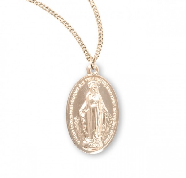 Women's Classic Oval Miraculous Pendant - Gold Plated