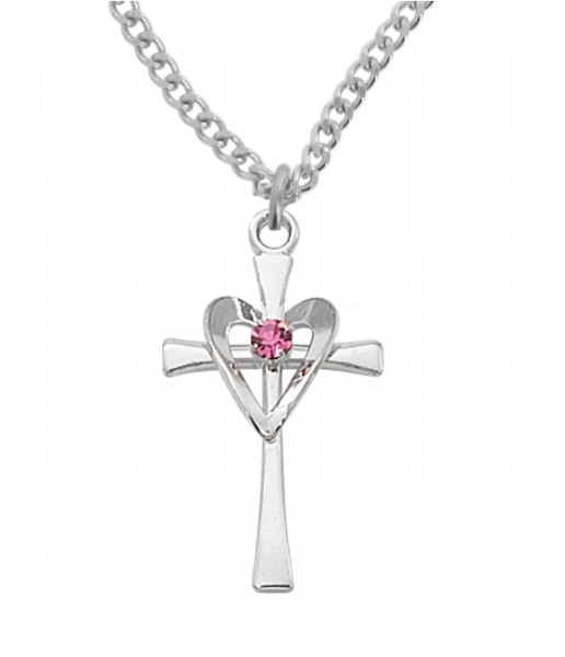 Women's Cross with Heart Necklace - Silver | Pink