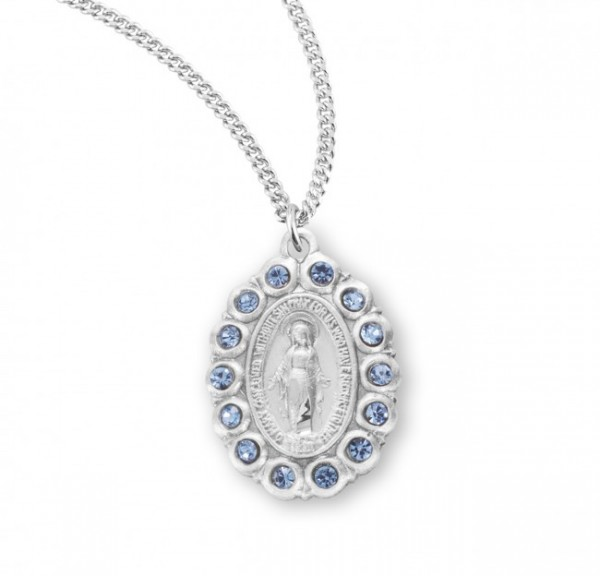 Women's Crystal Bead Miraclous Medal - Silver | Blue