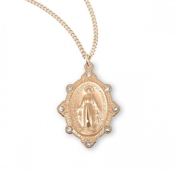 Women's Crystal Miraculous Medal in Gold Plate - White | Gold