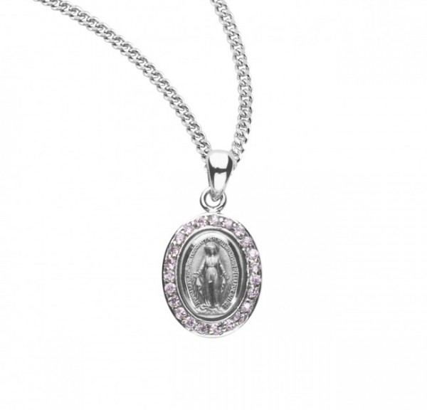 Women's Cubic Zirconia Studded Oval Miraculous Medal - Silver | Pink