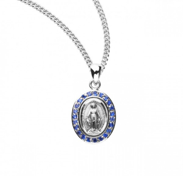 Women's Cubic Zirconia Studded Oval Miraculous Medal - Silver | Blue