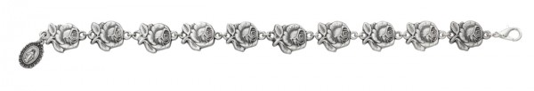 Women's Double-sided Rose with Mary Charm Bracelet - Silver