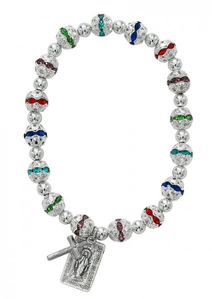 Women's Elegant Stretch Bracelet with Multi-Color Stone Beads and Charms - Silver