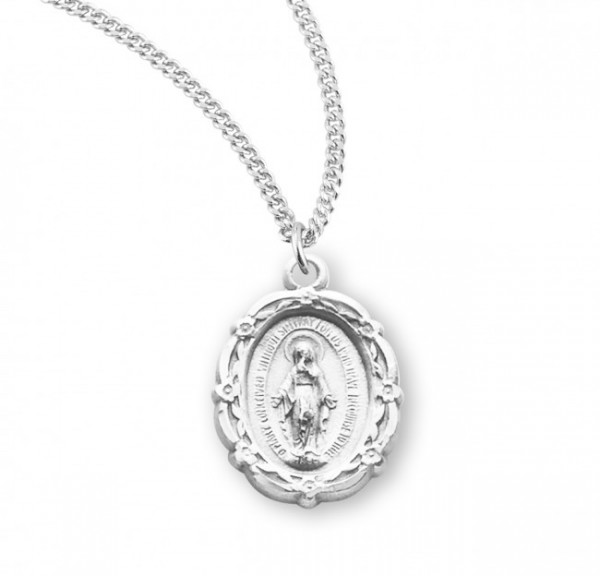 Women's Fancy Edge Miraculous Pendant with Chain - Sterling Silver