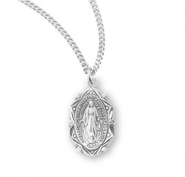 Women's Fancy Point and Bead Miraculous Medal - Sterling Silver
