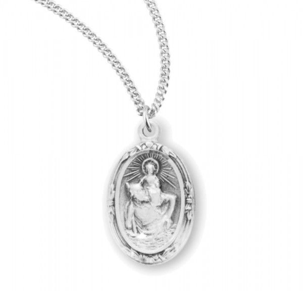 Women's Floral Border St Christopher Necklace - Sterling Silver