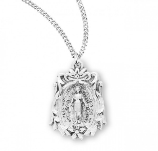 Women's Flower Accent Miraculous Medal - Sterling Silver