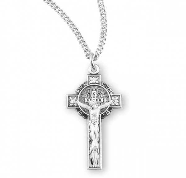Women's Flower Tip St. Benedict Crucifix Necklace - Sterling Silver