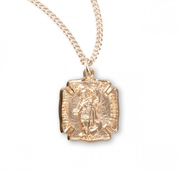 Women's Gold Plate Saint Florian Shield Necklace - Gold Plated