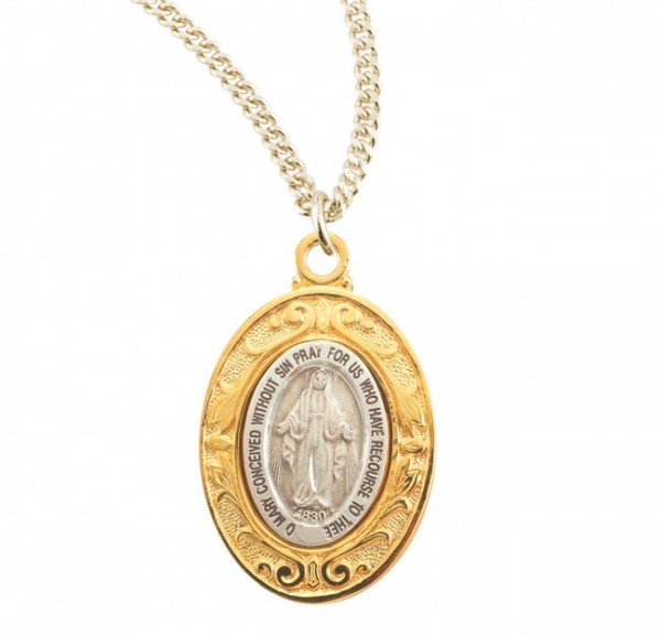 Women's Gold and Silver Miraculous Medal Necklace - Gold | Silver