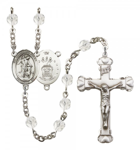 Women's Guardian Angel Air Force Birthstone Rosary - Crystal