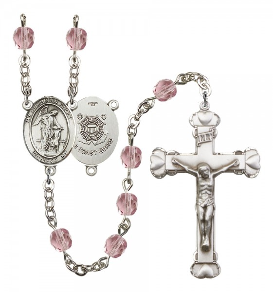 Women's Guardian Angel Coast Guard Birthstone Rosary - Light Amethyst