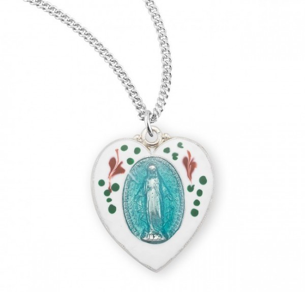 Women's Hand-Painted Heart Miraculous Medal - Silver | Blue