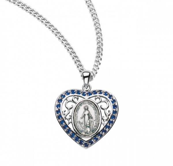 Women's Heart and Swirls Miraculous Medal - Blue