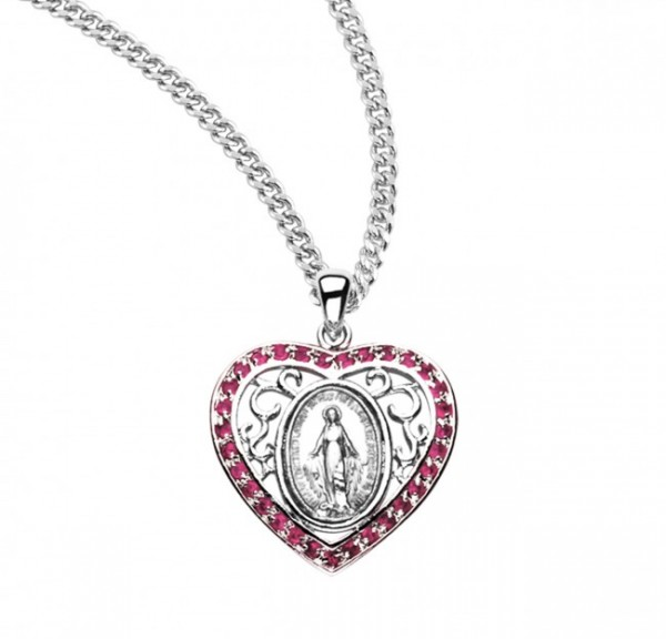Women's Heart and Swirls Miraculous Medal - Pink