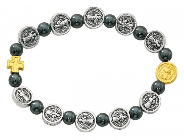 Women's Hematite Bead and St. Benedict Charm Stretch Bracelet - Two-Tone Silver