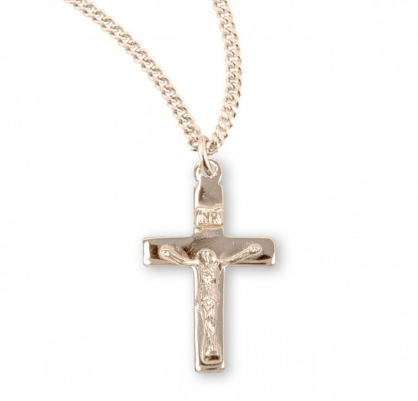 Women's High Polish Wide Crucifix Necklace - Gold Plated