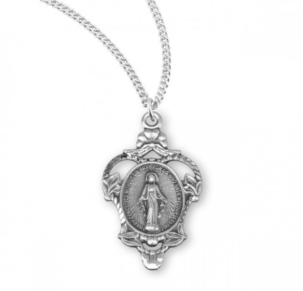 Women's Leaf and Scroll Miraculous Pendant - Sterling Silver