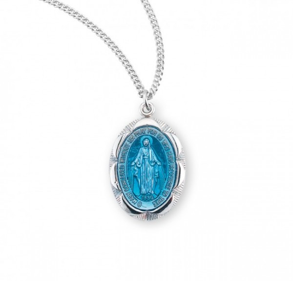 Women's Lined Scalloped Border Miraculous Medal - Silver | Blue