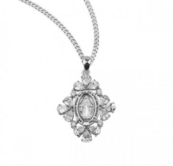 Women's Marquise Miraculous Medal Necklace - Sterling Silver