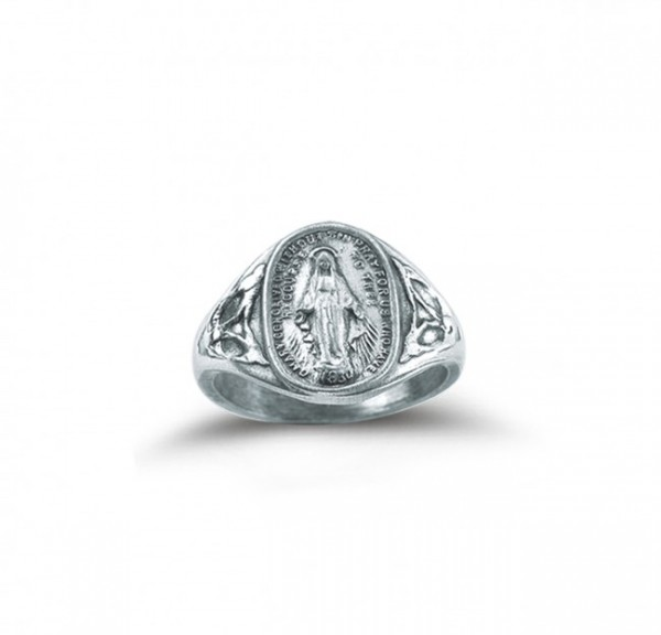 Women's Miraculous Medal Ring Sterling Silver - Sterling Silver