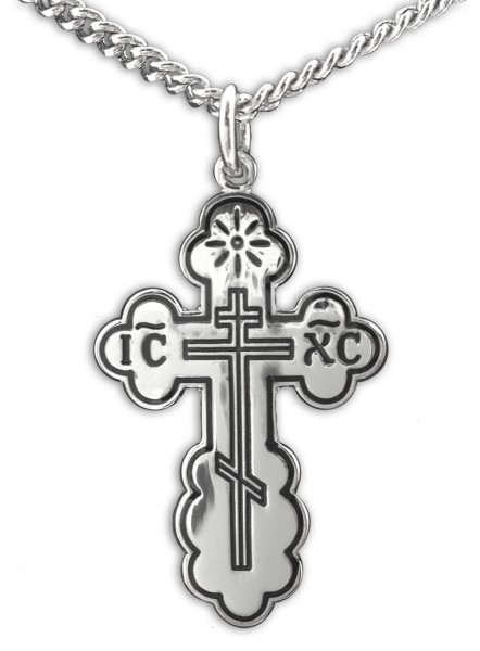 Women's Saint Olga Orthodox Sterling Silver Cross Pendant - 2 sizes - Sterling Silver