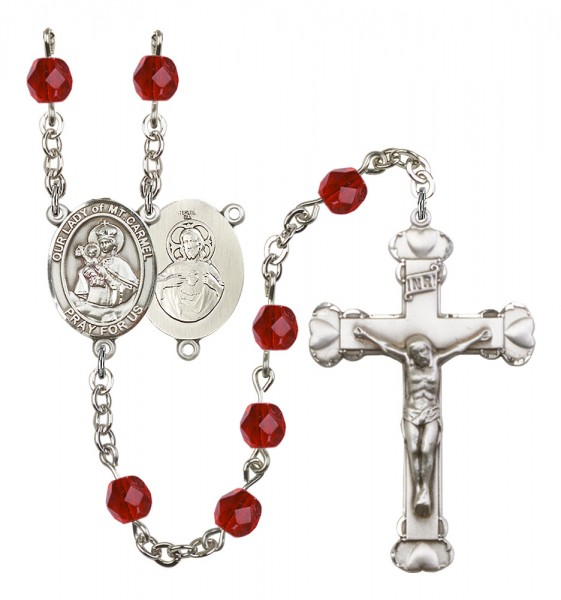 Women's Our Lady of Mount Carmel Birthstone Rosary - Ruby Red